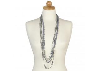 Modrý náhrdelník krajky s korálky