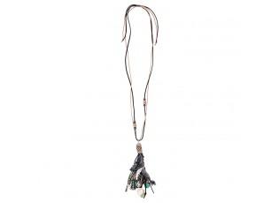 Černý náhrdelník s korálky a třásněmi Camilla