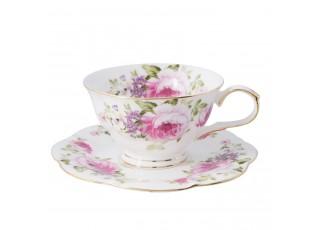 Pocelánový šálek s podšálkem s růžemi Rose - Ø 15*7 cm / 0.15 L