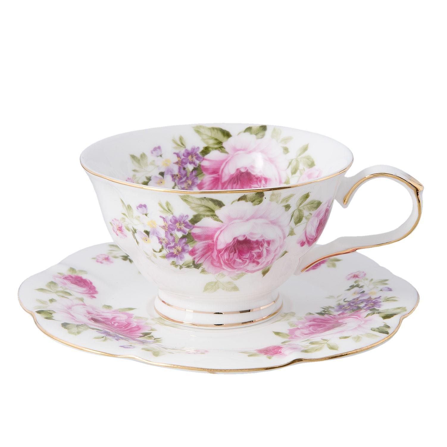 Porcelánový šálek s podšálkem s růžemi Rose - Ø 15*7 cm / 0.15 L