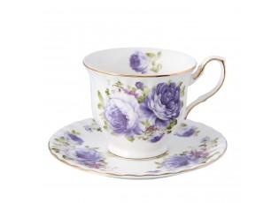 Pocelánový šálek s podšálkem s modrými květy - Ø 14*9 cm / 0.15 L