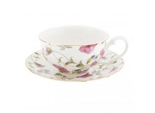 Pocelánový šálek s podšálkem s květy -Ø 13*2 / 12*9*5 cm