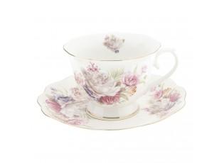 Pocelánový šálek s podšálkem s květy - Ø 15*7 cm / 0.25 L