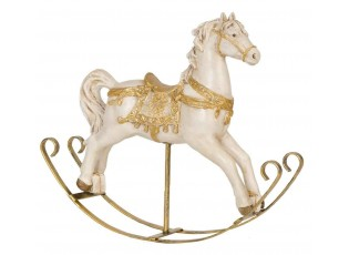 Dekorace houpací koník bílo-zlatý - 25*6*20 cm