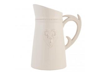 Bílý džbán s jelenem - 19*13*23 cm