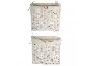 Bílý proutěný závěsný dvoukošík na noviny a časopisy