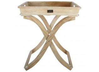Přírodní dřevěný podnos s nožičkami - 49*49*53cm