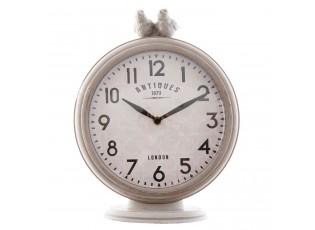 Šedé kovové stolní hodiny s ptáčky - 20*7*26 cm