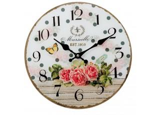 Nástěnné skleněné hodiny Marseille - Ø 30*4 cm