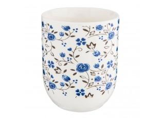 Kalíšek na čaj modrý dekor kytička - Ø 6*8 cm / 0,1L