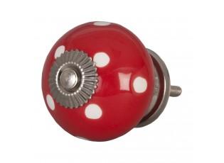 Červená keramicka úchytka s puntíky -  Ø 4 cm