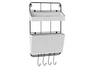 Nástěnná kovová police s boxy a háčky  - 30*10*50 cm