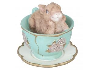 Velikonoční dekorace králíček v šálku - 8*7*7 cm