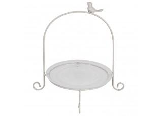Kovový ozdobný podnos se skleněným talířem - 32*30*33 cm