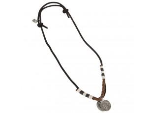 Kožený náhrdelník s penízky - 30cm