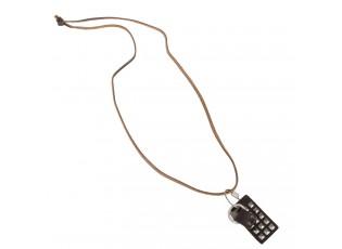 Kožený náhrdelník s otzdobou - 56cm
