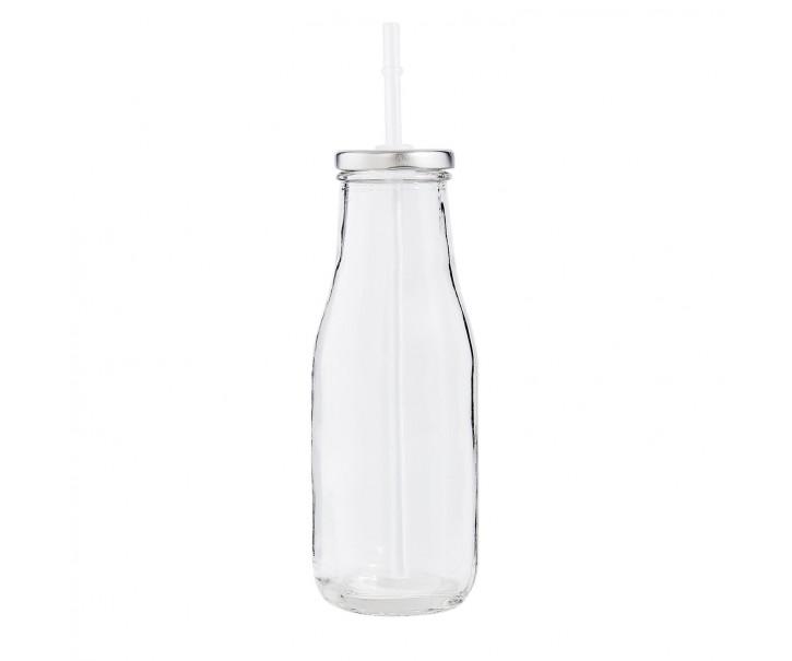 Skleněná láhev na brčko - Ø 6*19 cm / 0,4L
