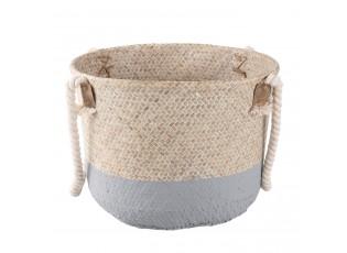 Koš s uchy z mořské trávy přírodní / šedá - Ø 36*26 cm