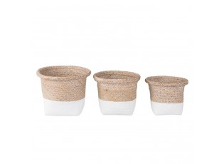Sada 3 košíků z mořské trávy - Ø 26*20 / Ø 23*19 / Ø 20*17 cm