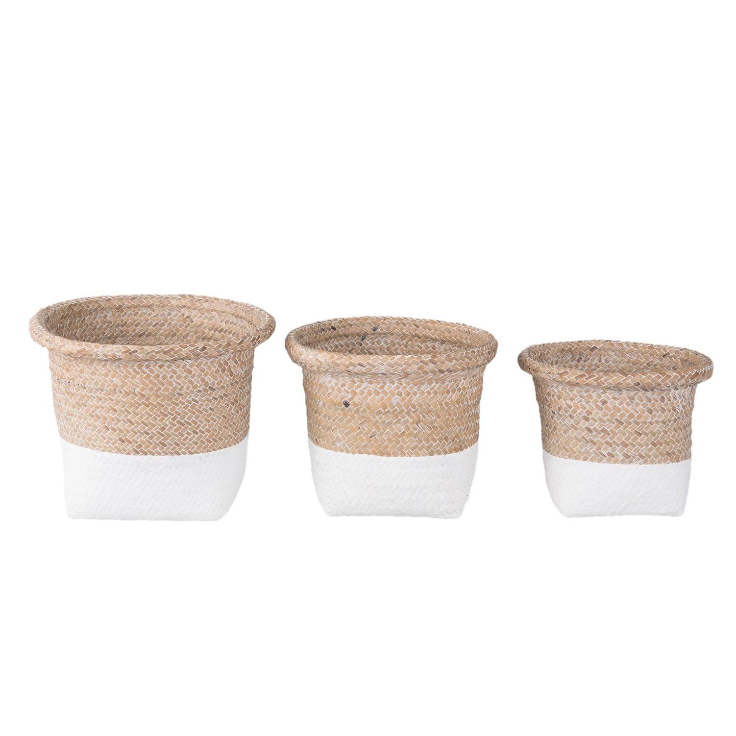 Sada 3 košíků/ květináčů z mořské trávy - Ø 26*20 / Ø 23*19 / Ø 20*17 cm