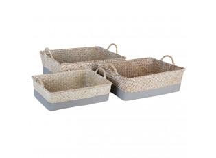 Sada 3 košíků z mořské trávy - 36*29*11/32*25*10/28*22*9 cm