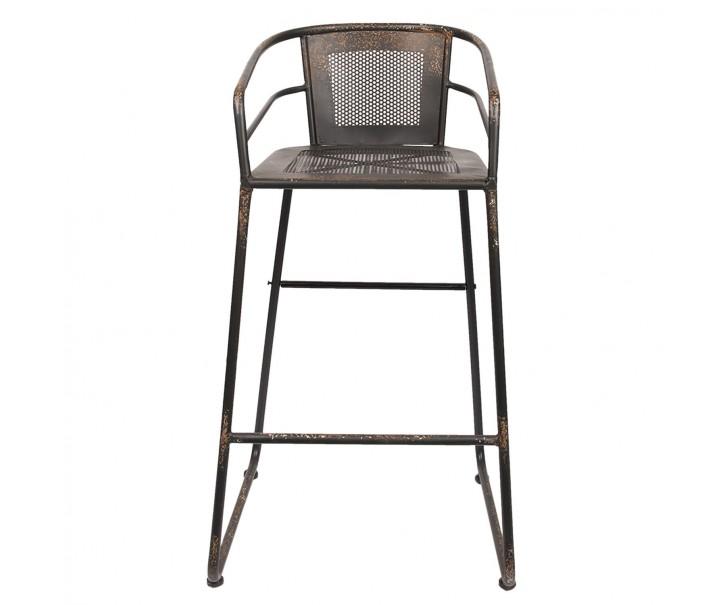 Kovová šedá barová stolička s patinou - 54*50*98 cm