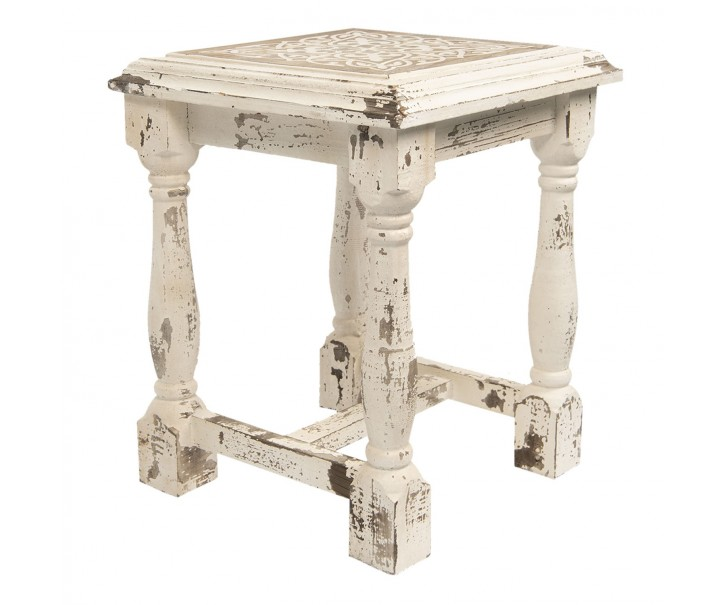 Dřevěná stolička s patinou a ornamentem - 39*39*50 cm