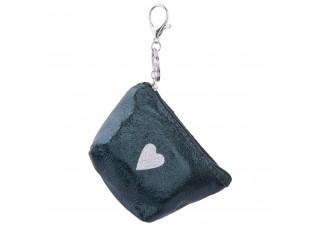 Modrá klíčenka se srdíčkem Glitter - 8*13 cm