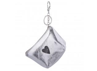 Stříbrná klíčenka se srdíčkem Glitter - 8*13 cm