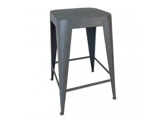 Šedá kovová stolička s patinou - 35*35*50 cm