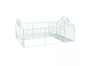 Bílý kovový stojan nebo odkapávač na nádobí - 40*27*18 cm
