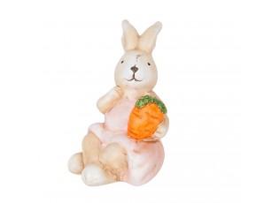 Dekorace sedící králíček s mrkvičkou  - 5*5*11 cm