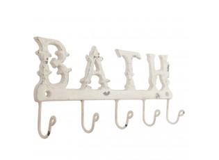 Bílý kovový nástěnný věšák Bath - 26*3*12 cm
