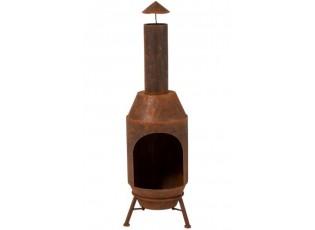 Plechové ohniště v retro vzhledu rezavé -  Ø 29*108 cm