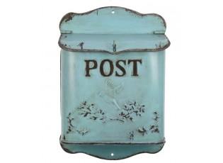 Tyrkysová poštovní retro schránka s ptáčkem - 23*12*34 cm