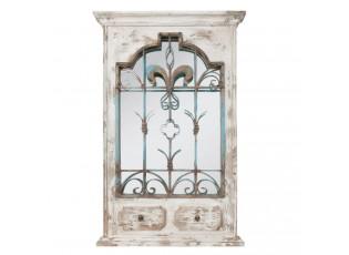 Nástěnné vintage zrcadlo v dřevěném rámu s patinou - 66*6*101 cm