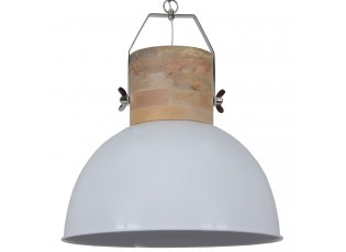 Bílé závěsné kovové retro světlo Fabriano Shiny white- Ø 50*60 cm