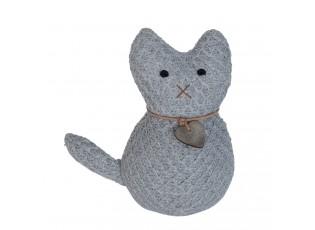 Dveřní zarážka šedá kočka - 20*10*21 cm