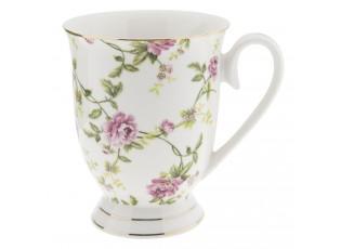 Porcelánový hrnek s květy -  11*8*10 cm