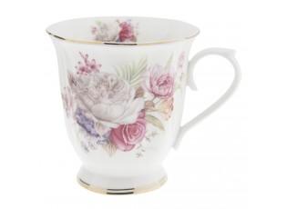Porcelánový hrnek s květy -  Ø 12*9*10 cm