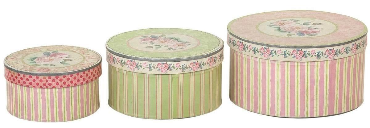 Plechové krabičky s víkem 3ks - Ø 18 * 9,5 / Ø 15 * 8 / Ø 12 * 6,5 cm