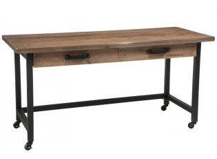 Drěvěný stůl s kovovou kontrukcí na kolečkách - 152*66*76cm