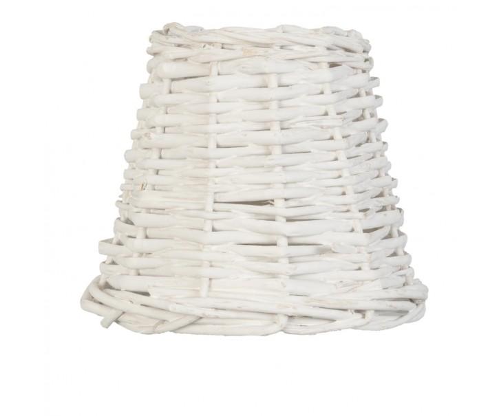 Bílé ratanové stínidlo - Ø 14*12 cm / E27