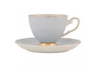 Modrý porcelánový šálek s podšálkem - 0.2 L