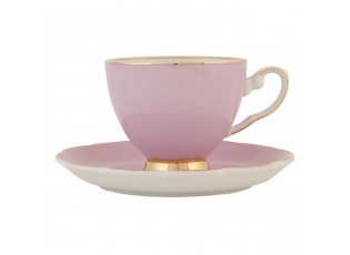 Růžový porcelánový šálek s podšálkem - 0.2 L