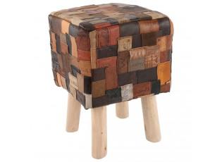Kožená čtvercová stolička  - 35*35*40 cm