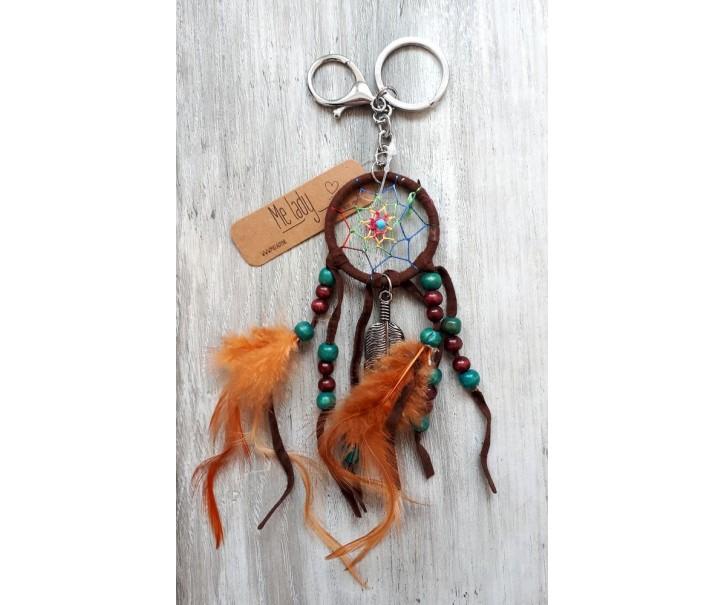 Přívěsek na klíče lapač Boho s peříčky - Ø 4cm* 20cm
