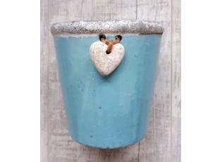 Modrý květináč se srdíčkem - Ø 13,5*13,5cm
