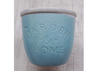 Modrý květináč Garden & Home  - Ø 14*13cm