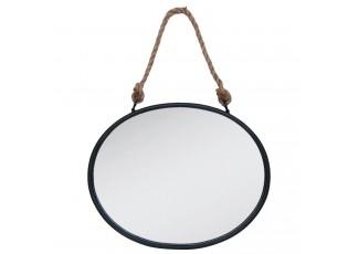 Oválné kovové zrcadlo s provazem -  50*4*40 cm